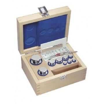 OIML E1 (304) Jeux de poids - forme bouton, inox poli, etui en bois
