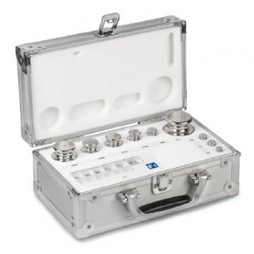 OIML E1 (304-0x6) Pesiere - cilindrico con bottone di presa, acciaio lucidato, valigetta in alluminio