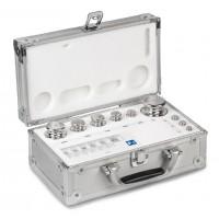 OIML E2 (314-0x6) Jeux de poids - forme bouton, inox poli, valise en aluminium