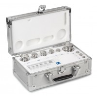 OIML F1 (324-0x6) Jeux de poids - forme bouton, inox poli, valise en aluminium