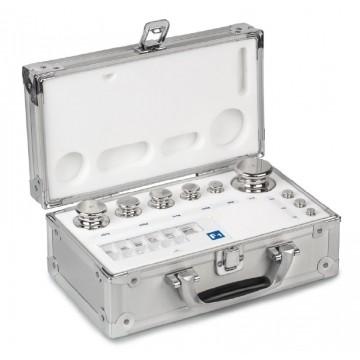 OIML F2 (333-0x6) Jeux de poids - forme bouton, inox tourné, valise en aluminium