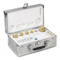 OIML M2 (354-6) Jeux de poids - forme bouton, laiton tourné, valise en aluminium