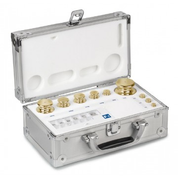 OIML M2 (354-6) Pesiere - cilindrico con bottone di presa, ottone tornito, valigetta in alluminio