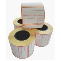 ROUGE - Etiquettes adhésives 58x45x40mm - Pré-imprimées en couleur